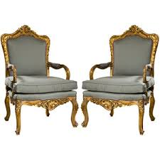 Pair of French Rococo Revival Arm Chairs
