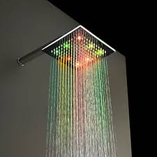 38 shower head with led lights jooe square led shower head water temperature sensor 3 color light kadoka net