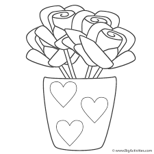 Roses in Vase with Hearts - Coloring Page (Plants)