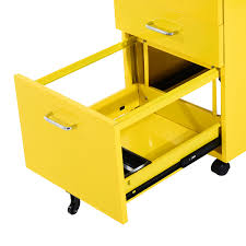 File Cabinets With Wheels Homcom 3 Drawers Metal Filing Cabinet Lockable W Wheels Yellow