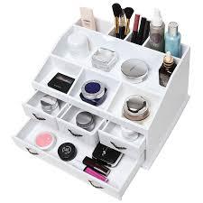 White Makeup Organizer Amazoncom Shabby Chic White Wood 8 Trays 4 Storage Drawers