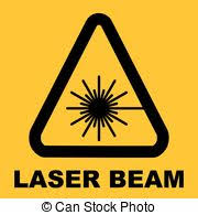 warning icon of laser light in yellow triangle