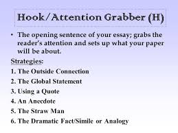 hook attention grabber h the opening sentence of your essay  hook attention grabber h the opening sentence of your essay grabs the
