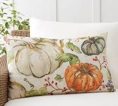 Elegant Watercolor Painted Pumpkin Patch Indoor/Outdoor Lumbar Pillow