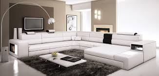 Amazoncom Polaris White Contemporary Leather Sectional Sofa