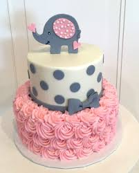 Baby Shower Cake With Elephant On Top The Cake Is A Pink Rosette 2