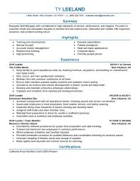 Hourly Shift Manager resume example