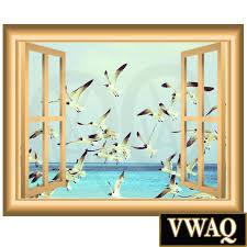 flock of birds d window frame vinyl decal wall art ocean birds