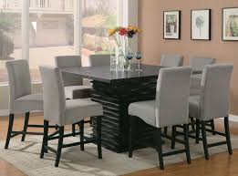 coaster stanton 9pc counter height dining set in black with gray chairs 102068gry by dining rooms