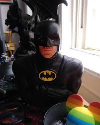"About time you woke up,"" Batman rumbled, staring intensely with folded arms  beside the 🌈 mouse ears - panavisionae"