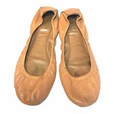 details about tory burch saddle tan leather round toe ballet flats size 11