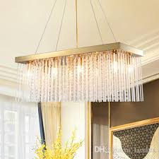 modern new design dimmable led crystal chandeliers rectangle gold metal chandelier lighting dining room pendant chandeliers lamps with bulbs new crystal