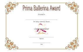 Dance Award Certificate Dance Certificate Template Award Templates Com Ballet Gift