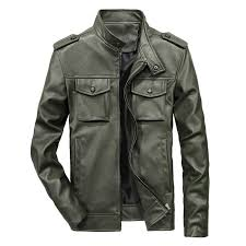 mens multi pocket faux leather stand collar jacket solid color coat green xl cod