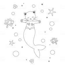 Schattige Cartoon Zwartwit Zeemeermin Kat Onder De Zee Grappige