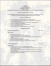 Seasonal Employment Resume Occupational Examples Samples Free Edit