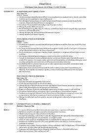 Production Supervisor Resume Sample Post Production Supervisor Resume Samples Velvet Jobs 15