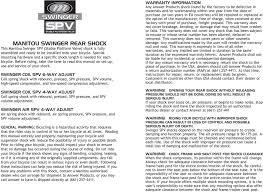 Manitou Oil Chart Manitou Swinger Rear Shock Owner S Manual P N Pdf Free