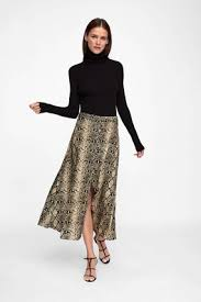 Zara woman combined office Image Zara Midi Flared Skirts Medium Office Style Python Midi Skirts The Young Guidance Zara 201819aw Flared Skirts Medium Office Style Python Midi Skirts