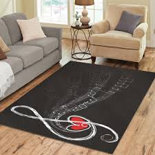 interestprint note with love black and white polyester area rug cover 7 x