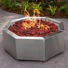 alpine flame inch stainless steel octagon fire pit  propane