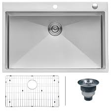 ruvati 33 x 22 inch drop in topmount 16 gauge tight radius stainless steel kitchen sink single bowl rvh8005