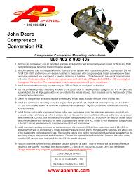 Air Compressor Conversion Chart John Deere Compressor Conversion Kit Manualzz Com