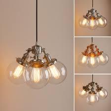 cer 3 edison retro industrial ceiling pendant light clear globe glass lamp