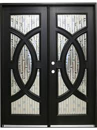 mahogany double front doors with circle decorative glass