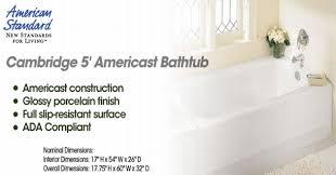 american standard americast tub. American Standard 2461 002 020 Cambridge 5 Feet Bathtub With Right Americast Tub