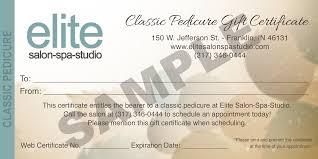 pedicure gift certificate sle