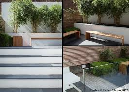 Small Picture white rendered walls horizontal fencing and contemporary planting