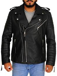 mens moto style quilted biker jacket