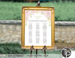 X Chart Template Seating Chart Instant Download 16 X 20 Seating Sign Table Seating Sign Rose Baptism Baptism Seating Sign Seating Chart Template