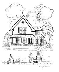 Small Picture Online House Coloring Page 18 For Line Drawings with House