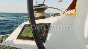 View Of Chart Plotter Fixed In Cockpit Near Wheel Of Yacht