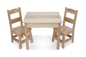 melissa doug wooden table and 2 chairs set light finish furniture for playroom playsets canada