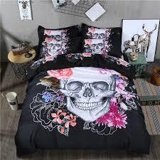 3d skull bedding set black and white duvet cover queen size 3 big skull bed sheet cotton blend soft material bed cover duvet cover sets king bedding