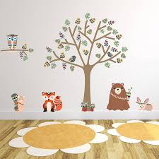 tribal woodland animal wall stickers