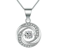 details about 925 sterling silver dancing stone made with cubic zirconia pendant necklace gift