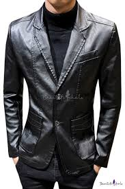 cool plain notched lapel double on long sleeve business leather blazer jacket