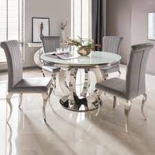 vida living orion white glass top round fixed top dining table 130cm