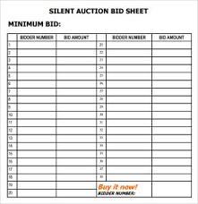 Sample Bid Sheets For Silent Auction Silent Auction Bid Sheet Template Free Word Templates
