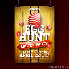 Easter Party Flyer With Poster Template Vector 03 Free Download
