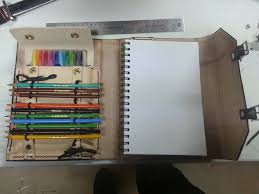 leather sketch book open by evermoreinc