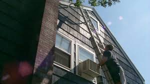 painting a house on a high ladder time lapse