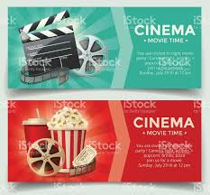 cinema concept poster template with popcorn bowl film strip and tickets realistic detailed vector ilration this stock vector on shutterstock