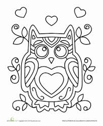 Small Picture Valentine Owl Coloring Page Worksheets Kindergarten and Owl
