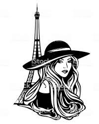 Parisian Fashion Woman Black Vector Portrait Stock Illustration