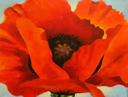 we noticed that in all of her paintings georgia o keefe made great use of the space she had and often painted large flowers that went right out to all four